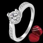 ฟรีกล่องแหวน R907 แแหวนเพชรCZ ตัวเรือนเคลือบเงิน 925 หัวแหวนเพชรเรียง ขนาดแหวนเบอร์ 7