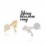 Floral Leaf Shiny Blossom Ring แหวนมงกุฎดอกไม้ปลายเปิดสีทอง สไตล์เกาหลี สวยน่ารัก เหมาะกับสาวหวานมากๆ