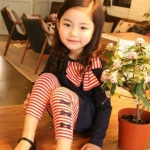 ชุดเด็กผู้หญิง เสื้อสีกรมกับกางเกงลายแดง น่ารักสไตล์เกาหลี