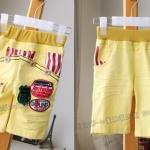 (เด็กเล็ก) กางเกงสีเหลือง สดใส ปะแปะอาร์มและกระดุม กระเป๋าแต่งผ้าขาวสลับแดง หล่อ เท่ห์มากค่ะ งานสวย คุณภาพดี size 5,7,9,11,13