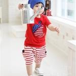 ชุดเด็ก เสื้อสีแดงกับกางเกงสีแดงลายทาง น่ารักสไตล์เกาหลี