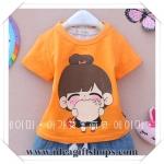 เสื้อเด็กผู้หญิง น่ารัก สไตล์เกาหลี สีส้ม (ซื้อ 3 ตัว ราคาส่ง 170 บาท) คละลายได้ค่ะ