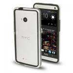 Case เคส TPU + Transparent Plastic Bumper Frame HTC One M7 (Black)