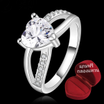 ฟรีกล่องแหวน R906 แหวนเพชรCZ ตัวเรือนเคลือบเงิน 925 หัวแหวนรูปหัวใจ ขนาดแหวนเบอร์ 7