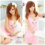 2in1 Sexy Dress ชุดนอนสาวจีนสีชมพูผ้ามันลื่นคล้องคอผูกหลังโชว์อกผ่าข้าง+จีสตริงเข้าชุด