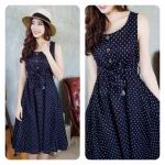 Snow Dots Linen-Cotton Dress สีดำ