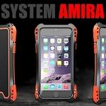 (471-004)เคสมือถือไอโฟน case iphone 6Plus/6S Plus เคสเกราะโลหะ+กระจก+เคสนิ่มลายเคฟล่า SYSTEM AMIRA