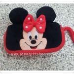 กระเป๋าใส่ดินสอ หรือ เครื่องสำอางค์ มีซิป 2 ช่อง ลาย Minnie Mouse