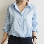 เสื้อเชิ๊ตแฟชั่นชุดทำงานพร้อมส่ง เสื้อเซิ๊ตแขนยาวดีไซต์เก๋สไตส์เกาหลี แต่งลายฟ้าขาว ใส่สบาย +พร้อมส่ง+
