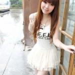เสื้อผ้าแฟชั่นสไตส์เกาหลี แซกเสื้อเดรสสายเดียว สีขาว  แต่งสกรีน Cheek and chic   +พร้อมส่ง+