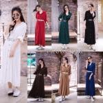 Maxi274- Maxi Dress Shirt Plain Colour มี 7สี