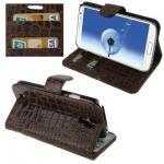 Case เคส หนังจระเข้ สีน้ำตาล Samsung GALAXY S4 IV (i9500)