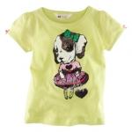 H&M เสื้อยืดสีเขียวมะนาว แขนตุ๊กตา ติดโบว์เล็กๆ ลายน้องหมาใส่กระโปรง น่าร๊าก ผ้านิ่ม ใส่สบายค่ะ size 4-6 y