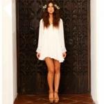 Long Sleeve White Princess Dress ชุดแซกไปงานผ้าชีฟองสีขาวแขนยาวแต่งลูกไม้ ไซส์ M