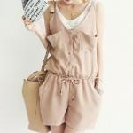 เสื้อแซกจั้มสูทแฟชั่นชุดทำงานพร้อมส่ง เสื้อแซกจั้มสูทดีไซต์เก๋สไตส์เกาหลี จั้มเอว สีครีม +พร้อมส่ง+