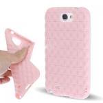 เคส ซิลิโคน 3D Square Grid TPU Case Galaxy Note2 สีชมพูอ่อน