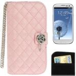 Case เคส Plaid Texture Diamond Flower Case Samsung Galaxy S 3 III (i9300)(Pink)