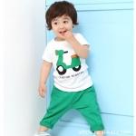 ชุดเด็ก เสื้อขาวลายรถกับกางเกงสีเขียว น่ารักสไตล์เกาหลี