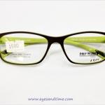 กรอบแว่นตา Polo Design เหลี่ยม ด้านนอกสีน้ำตาล ด้านในสีเขียว รุ่น PDE-003