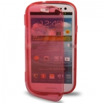 Case เคส แบบฝาเปิด ชนิดใส วัสดุ TPU Samsung Galaxy S3 SIII (i9300) สีแดง