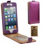 Case เคส Luxury Series Flower Pattern Vertical Style Genuine Leather Case iPhone 5 (Purple)