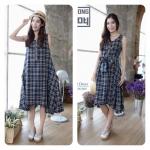 Tartan Jpn cotton dress สีกรมท่าครีม