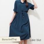 Vintage Dress สีน้ำเงินทะเล