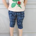 Pink Ideal (งานเกาหลี) กางเกง 4 ส่วน สีน้ำเงินลายสก๊อต ปลายขาย่น ผ้าินิ้มนิ่ม น่าใส่มากค่ะ