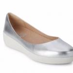*** พร้อมส่ง FitFlop Leather Superballerina Silver US 7