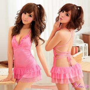 2in1 Sexy Babydoll Pink Dress ชุดนอนเซ็กซี่ผ้ามันลื่นสีชมพูเปิดหลัง ระบายชาย พร้อมจีสตริง