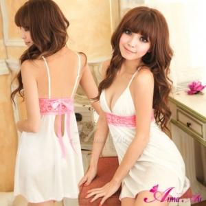 2in1 Sexy Princess Dress ชุดนอนเซ็กซี่ผ้ามันลื่นสีขาวแต่งลูกไม้สีชมพูใต้อก พร้อมจีสตริง