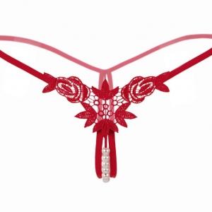 Pearl Red Rose Sexy G-string กางเกงในจีสตริงลายกุหลาบสีแดง กางเกงในเปิดเป้าแต่งมุก