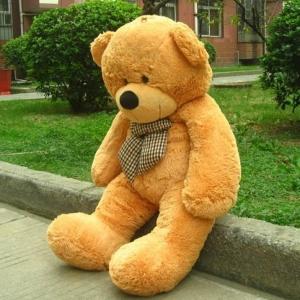 ตุ๊กตาหมีผูกโบว์สีน้ำตาลอ่อน ขนาด 1.4 m.