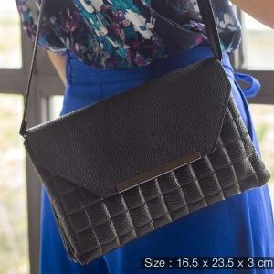 กระเป๋าคลัทช์สีดำ กระเป๋าถืออเนกประสงค์ ใส่แท็บเล็ต มือถือ ต่อสายเป็นกระเป๋าสะพาย หรือถอดสาย ใช้ออกงาน ราคาน่ารัก