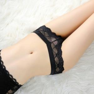 Black Sexy V Lace Panty กางเกงในลูกไม้สีดำเอวรูปตัววีเซ็กซี่