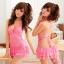 2in1 Sexy Babydoll Pink Dress ชุดนอนเซ็กซี่ผ้ามันลื่นสีชมพูเปิดหลัง ระบายชาย พร้อมจีสตริง thumbnail 1
