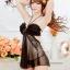 2in1 Sexy Dress ชุดนอนเซ็กซี่ซีทรูสีดำสุดหรูแต่งระบายอก สายคล้องคอ+จีสตริง thumbnail 3
