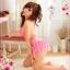2in1 Sexy Babydoll Pink Dress ชุดนอนเซ็กซี่ผ้ามันลื่นสีชมพูเปิดหลัง ระบายชาย พร้อมจีสตริง thumbnail 3