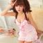 2in1 Sexy Pink Dress Babydoll ชุดนอนเซ็กซี่ผ้ามันลื่นสีชมพูแต่งระบายที่อก ระบายชาย พร้อมจีสตริง thumbnail 2