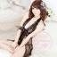2in1 Sexy Dress ชุดนอนเซ็กซี่ซีทรูผ่าหน้าสีดำแต่งโบว์+จีสตริง 8100 thumbnail 5