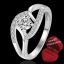 ฟรีกล่องแหวน R911 แแหวนเพชรCZ ตัวเรือนเคลือบเงิน 925 หัวแหวนเพชรล้อม ขนาดแหวนเบอร์ 7 thumbnail 1