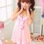 2in1 Sexy Pink Dress Babydoll ชุดนอนเซ็กซี่ผ้ามันลื่นสีชมพูแต่งระบายที่อก ระบายชาย พร้อมจีสตริง thumbnail 3