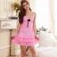 Sexy Princess Dress ชุดนอนเซ็กซี่ผ้ามันลื่นสีแตงโมแต่งลูกไม้อก ชายระบาย สวยหวานน่ารักมาก thumbnail 1