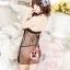 2in1 Sexy Dress ชุดนอนเซ็กซี่ซีทรูผ่าหน้าสีดำแต่งโบว์+จีสตริง 8100 thumbnail 6