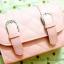 กระเป๋าสะพายข้าง สีชมพู เย็บเดินลายทั้งใบ ทรงกล่องสีเหลี่ยม thumbnail 2