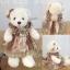 ตุ๊กตาหมีเสื้อกระโปรงลายวินเทจชายดอก teddybear vintage brown dress ขนาด 35 cm thumbnail 1