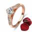 ฟรีกล่องแหวน แหวนเพชรCZ ตัวเรือนเคลือบทองชมพู 18k ทรงเพชรชู ขนาดแหวนเบอร์ 17 mm. thumbnail 1