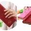 กระเป๋าสตางค์ใบยาว สีไวน์แดง ขนาด 3 พับ ประดับรูปร่ม หนัง PU thumbnail 3