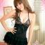 2in1 Sexy Black Dress ชุดนอนเซ็กซี่สีดำสุดหรูแต่งลูกไม้ชายระบาย+จีสตริง thumbnail 3