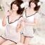 2in1 Sexy Dress ชุดนอนเซ็กซี่ผ้าซีทรูเดรสคอวีสีขาวราวเจ้าหญิง พร้อมจีสตริง 8235 thumbnail 1